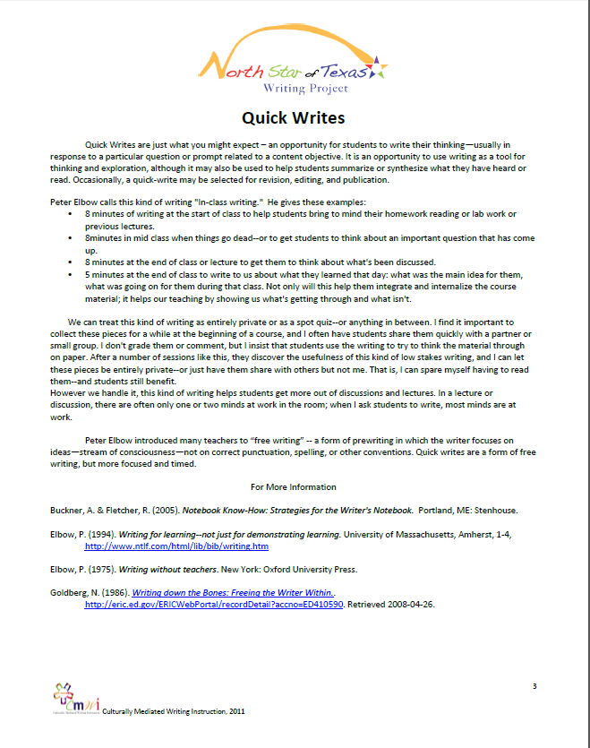 Quickwrite Info Sheet